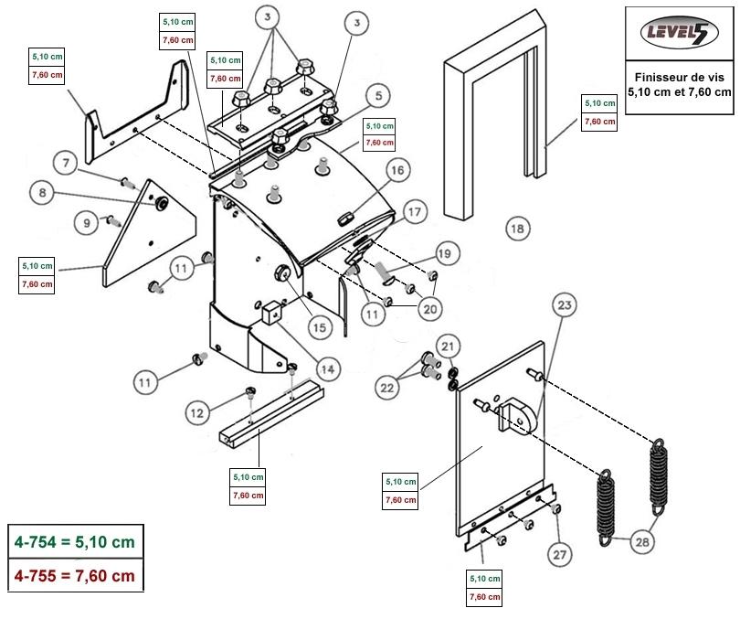sch ma finisseur de vis 5 10 cm et 7 6 cm krenobat outillage distribution. Black Bedroom Furniture Sets. Home Design Ideas